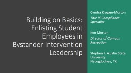 Building on Basics:  Enlisting Student Employees in Bystander Intervention Leadership
