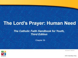 The Lord's Prayer: Human Need