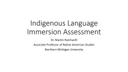 Indigenous Language Immersion Assessment