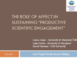 The Role of Affect in Sustaining �Productive Scientific Engagement�
