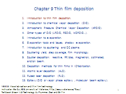 Chapter 9 Thin film deposition PowerPoint PPT Presentation