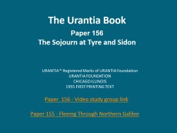 The Urantia Book Paper 156