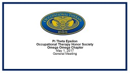Pi Theta Epsilon  Occupational Therapy Honor Society