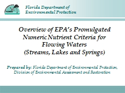 Overview of  EPA's  Promulgated Numeric Nutrient Criteria for Flowing Waters