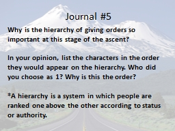 Journal #5 Why is the hierarchy of giving orders so important at this stage of the ascent?