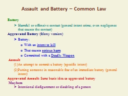 Assault and Battery – Common Law
