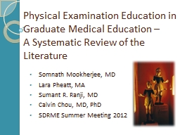 Physical Examination Education in Graduate Medical Education –