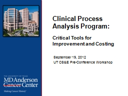 Clinical Process Analysis Program: