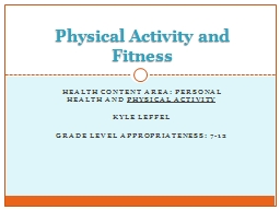 Health content area: personal health and