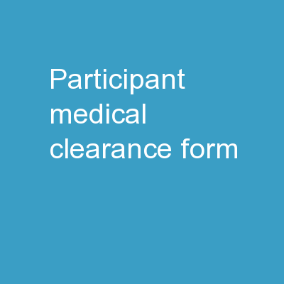 Participant medical clearance form