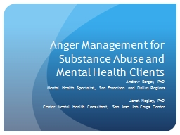 Anger Management for Substance Abuse and Mental Health Clients