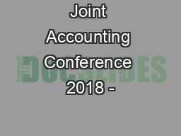 Joint Accounting Conference 2018 -