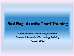 Red Flag Identity Theft Training PowerPoint PPT Presentation
