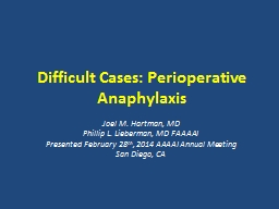 Difficult Cases: Perioperative Anaphylaxis