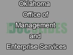 State of Oklahoma  Office of Management and Enterprise Services