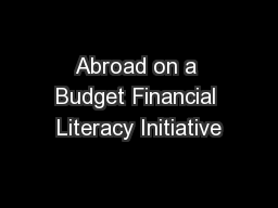 Abroad on a Budget Financial Literacy Initiative