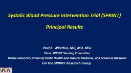 Systolic Blood Pressure Intervention Trial (SPRINT)