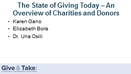 The State of Giving Today – An Overview of Charities and Donors