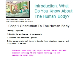 Introduction: What Do You Know About The Human Body?