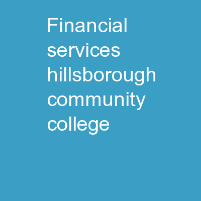 Financial Services Hillsborough Community College