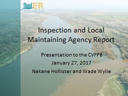 Inspection and Local Maintaining Agency Report
