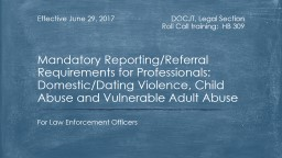 DOCJT, Legal Section Roll Call training:  HB 309