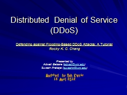 Distributed Denial of Service PowerPoint PPT Presentation