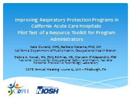 Improving Respiratory Protection Programs in California Acute Care Hospitals: