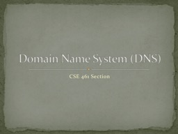 CSE 461  Section Domain Name System (DNS)