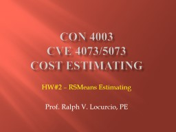 CON 4003 CVE 4073/5073 Cost Estimating