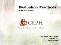 Evaluation & Data CEPH Criteria Rollout Meeting