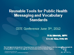 Reusable Tools for Public Health Messaging and Vocabulary Standards PowerPoint Presentation, PPT - DocSlides