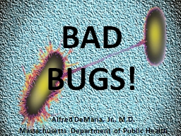 BAD BUGS! Alfred DeMaria, Jr., M.D.