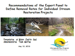 Recommendations of the Expert Panel to Define Removal Rates for Individual Stream Restoration