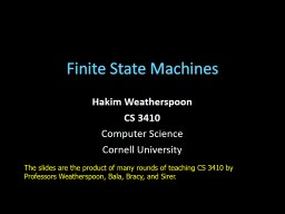 Finite State Machines Hakim Weatherspoon PowerPoint Presentation, PPT - DocSlides