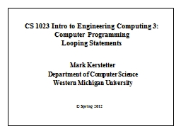 CS 1023 Intro to Engineering Computing 3: