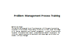 Problem Management Process Training