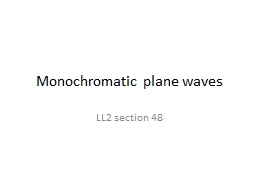 Monochromatic plane waves