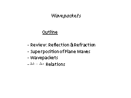 Wavepackets 	  Outline  Review: Reflection & Refraction