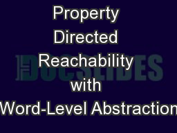 Property Directed Reachability with Word-Level Abstraction