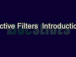 Active Filters  Introduction