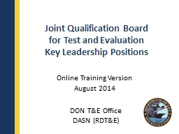 Joint Qualification Board PowerPoint Presentation, PPT - DocSlides