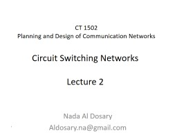 CT 1502 Planning and Design of Communication Networks