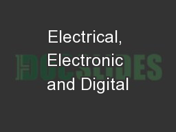 Electrical, Electronic and Digital