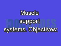 Muscle support systems. Objectives: