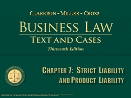 Chapter 7:  Strict Liability