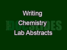Writing Chemistry Lab Abstracts