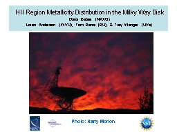 HII Region  Metallicity  Distribution in the Milky Way Disk PowerPoint Presentation, PPT - DocSlides