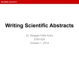 Writing Scientific Abstracts PowerPoint Presentation, PPT - DocSlides