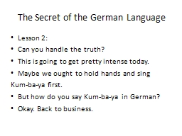 The Secret of the German Language